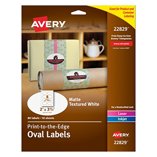 Avery Print - To - The - Edge Oval Labels, Matte Textured (Oval Label)