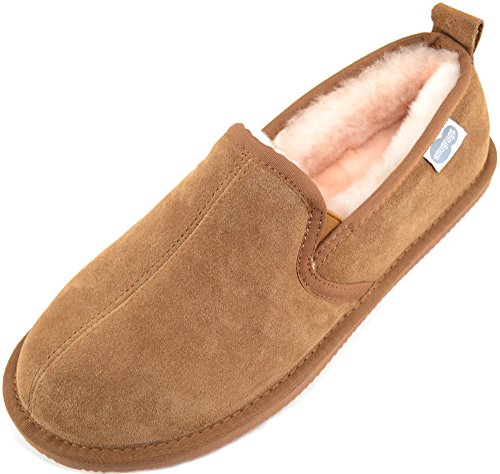 SNUGRUGS Men Sheepskin Rubber Sole Low-Top Slippers Brown (Chestnut)