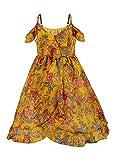 Girls' Summer Spaghetti Strap Off Shoulder Flowers Boho Maxi Dress(Yellow 9-10 Years/Tag Size150)