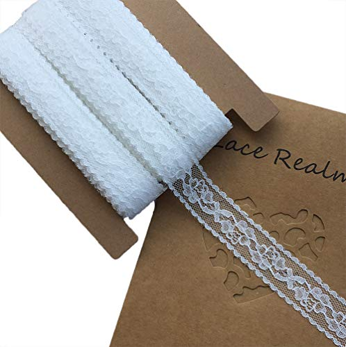 LACE REALM 1 inch Wide x 30 Yards White Floral Pattern Trim Lace Ribbon for Decorating, Floral Designing and Crafts
