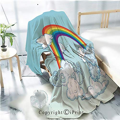 AngelSept Printed Throw Blanket Smooth and Soft Blanket,Doodle Clouds and Rainbow Hand Drawn Vector1 for Sofa Chair Bed Office Travelling Camping,Kid Baby,W31.5 x H47.2