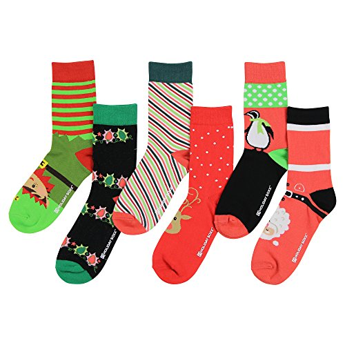 (Women's Premium Fun and Colorful Crew Socks (6 Pack) (Christmas