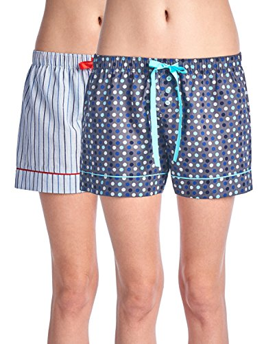Casual Nights Women's 2 Pack Cotton Woven Lounge Boxer Shorts - Large Dots/Stripe 33 - ()