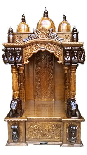 Wooden Temple / Home Mandir / Teak Wood / Dual Polish / Traditional Design  / Fixed Part 73