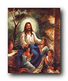 Wall Decor Jesus Christ with Children in the Garden Christian Religious Art Print Poster (16x20)