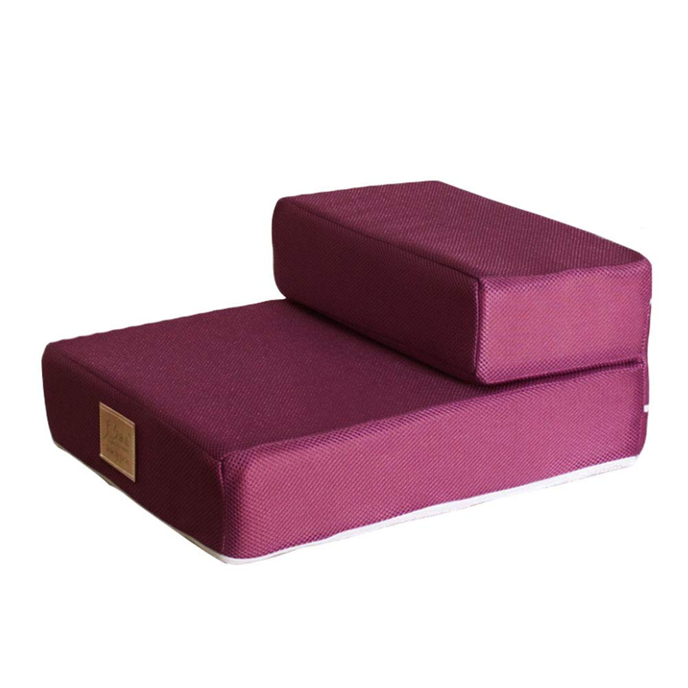 Pet stairs Folding 2 Step, Easy Step Cat Sponge Mat, Small and Older Dog to Sofa Bed Wine Red