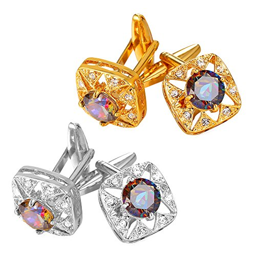 Gold Tone Cubic Zirconia Shiny Cufflinks Set For Men,2 Pairs, 1 18K Gold, 1 Platinum Plated ()