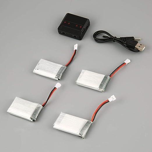 FairytaleMM Nuevos Juegos de Cargador estándar de batería Lipo Mejorada + 4 Piezas de batería de 3.7V 850mAh para Syma X5C X5C X5SC X5SW Drone Toys (Astilla): Amazon.es: Hogar
