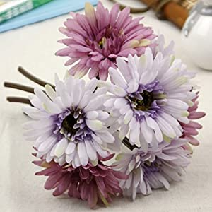 African Daisy Artificial Flowers 7 Heads Silk Cloth Flower Bouquet Artificial Plants for Wedding Banquet Living Room Home Decoration Party Christmas Mother's Day Holiday Gift 3