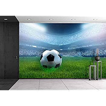 Wall26   Close Up Of A Football Ball On A Full Stadium   Removable Wall  Mural
