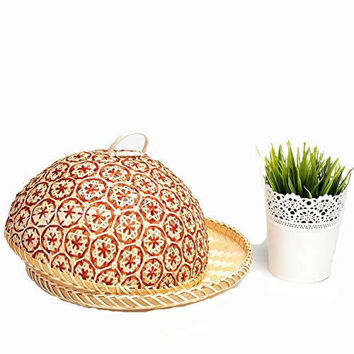 100% Bamboo Basket Handmade Dedicate Decor Gift Mesh Fly Food Lid Net Cover Serving Plate Bowl Fruit Bread Storage Container Holder Organizer Rack (No.4) by Timesfriend