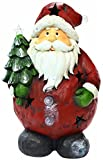 Alpine Santa Holding Tree Statue W/ 4 Color Changing LEDs & Timer, 17'' Tall
