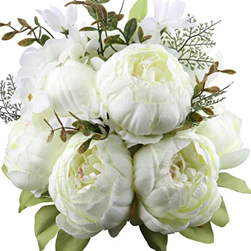 Leagel Fake Flowers Vintage Artificial Peony Silk Flowers Bouquet Wedding Home Decoration, Pack of 1 (White) (Flowers Peony Wedding)