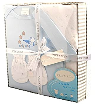 468eadc5edd50 Newborn Baby 4 Piece Teddy Luxury Boxed Gift Set 0 - 3 Months. Available in  Blue or Pink (Blue)  Amazon.co.uk  Baby