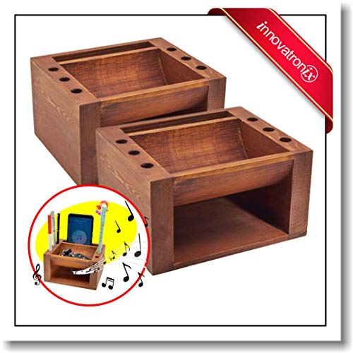 (Innovatronix 2 Pieces Bamboo Wood Multi Purpose Sound Booster with Pen and Pencil Desk Office Organizer - Music Amplifier - Cellphone Accessories | 5x4x3 Inches)