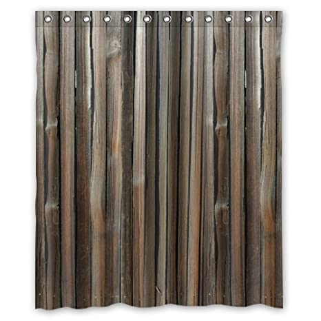 Wood Grain Shower Curtain Polyester Waterproof 60quot