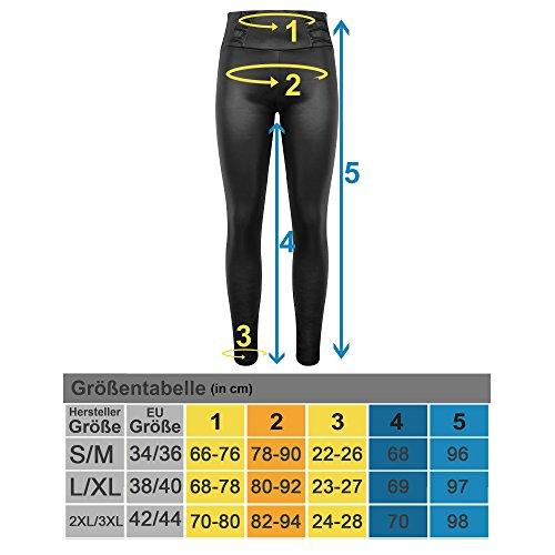 Trend4You Leggings/Treggings Glanz Look Bauchweg Effekt Formend Schwarz