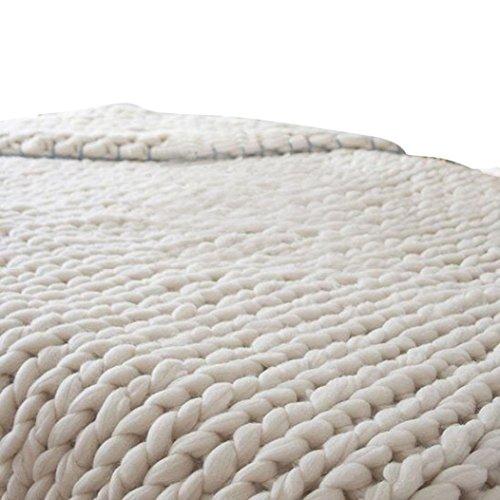 Flannel Knitting Yarn - Han Shi Knitted Blanket, Soft Thick Hand-Made Yarn Bulky Knitting Warm Sofa Bed Yoga Mat Rug 100X80cm (Beige, L)