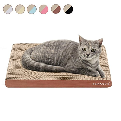 AMZNOVA Cat Scratch Lounge, Durable Cardboard, Colors Series, Wide, Wood Floor Print