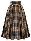Women's Elastic Waist Plaid Skirt Midi Swing Skirt,Brown Plaid, Medium