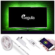 Bias Lighting for Smart TVs, Home Theatre, Megulla Smart Wifi RGBW (Cool White, 6500K) LED Light Strips with Timer and Dimmer, 118inch, Power Adapter (12V, 2A), APP Control by Smart Phone, Works with Alexa and Google Home