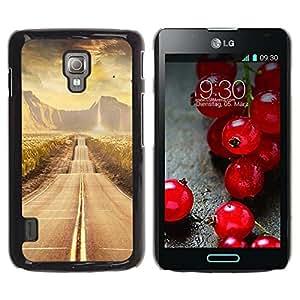LECELL -- Funda protectora / Cubierta / Piel For LG Optimus L7 II P710 / L7X P714 -- Road scenery --