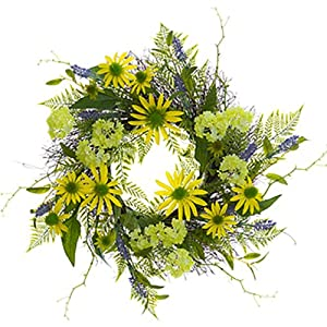 "30"" Snowball, Rudbeckia & Lavender Silk Flower Hanging Wreath -Green/Yellow (Pack of 2) 4"