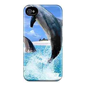 Hot QQcDrIs3123hWzpl Dolphins Jumping Around Beach Tpu Case Cover Compatible With Iphone 4/4s by icecream design