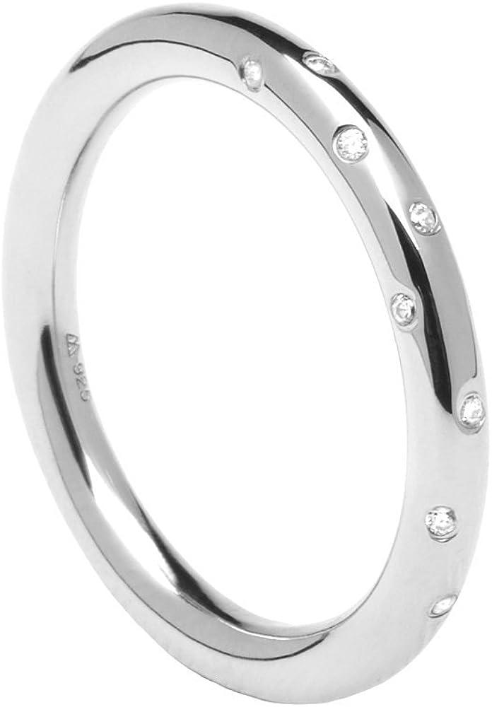 P D PAOLA - Anillo de Plata SATELLITE silver - Anillo para Mujer o Chica - Plata de Ley 925 con Piedras Circonitas