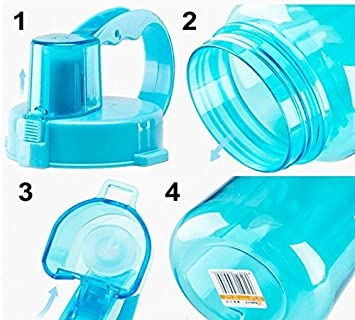 Lonni 2L Sports Water Bottles Portable Wide Mouth Big Plastic Bottle Leakproof Space Cup BPA Free Travel Mugs with Scale,Straw,Strap for Kids Adult Summer Outdoor Sports