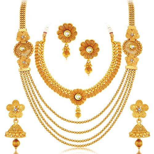 Sukkhi Floral Gold Plated Wedding Jewellery Kundan Choker & Multi-String Necklace Set Combo For Women (CB73383)