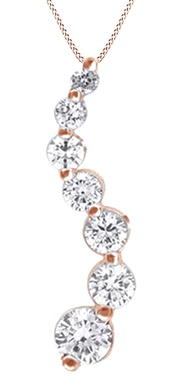 Amazon 12 ct natural diamond journey pendant necklace womens 12 ct natural diamond journey pendant necklace womens in 14k solid rose gold aloadofball Images
