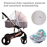 Baby Mosquito NET for Strollers, Car Seats and Bassinet. Universal Portable Durable Insect Netting with Additional 6pcs Charge Anti-Mosquito Repellent Stickers and 1pcs Anti-Mosquito Bracelet.
