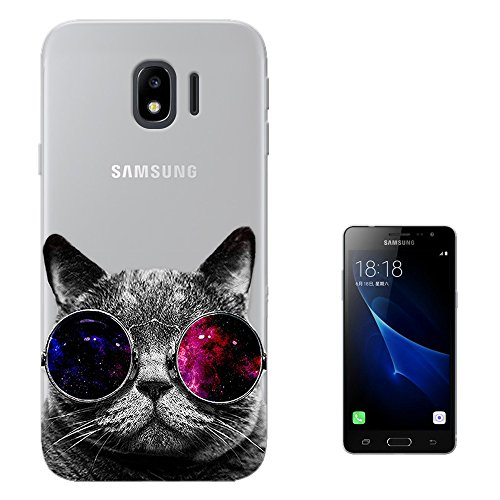 c00074 - Cool Cat Sunglasses Fashion Trend Design Samsung Galaxy J2 Pro (2018) Case Gel Silicone All Edges Protection Case - 2018 Trends Sunglasses