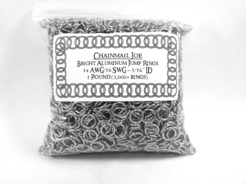 1 Pound Bright Aluminum Chainmail Jump Rings 16G 5/16'' ID (3000+ Rings!) by Chainmail Joe