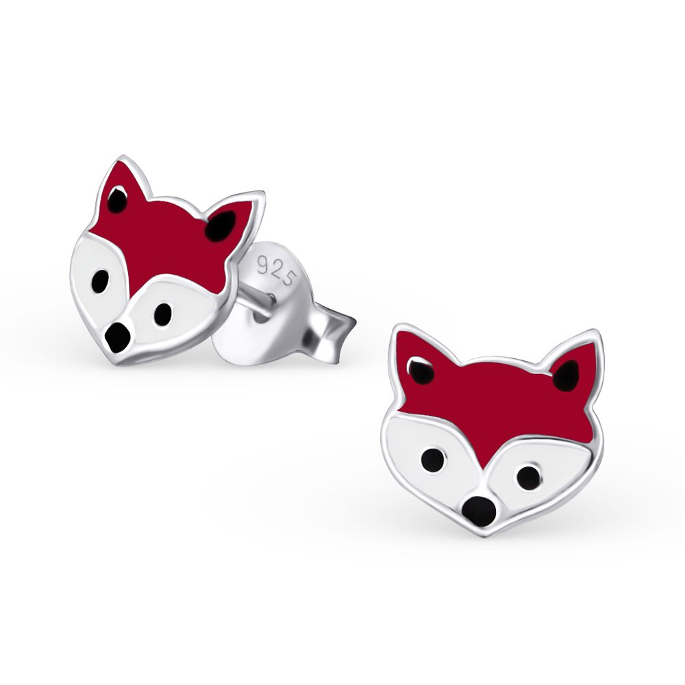 925 Sterling Silver Red Fox Ear Studs Earrings Children Jewelry World Of Jewelry 18660