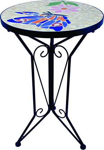 "Harbor Gardens ZT171408B 20"" Butterfly Plant Stand with Mosaic Top"