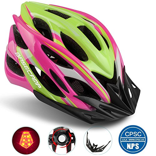 Basecamp Specialized Bike Helmet with Safety Light,Adjustable Sport Cycling Helmet Bicycle Helmets for Road & Mountain Motorcycle for Men & Women,Youth Safety Protection (RoseYellow-BigLight)