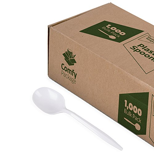 Plastic Soup Spoons Medium Weight - White (1000 Count) -