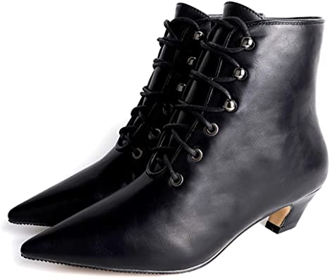 CYBLING Womens Dressy Elegant Kitten Low Heel Lace Up Pointy Toe Ankle Bootie Martin Boots