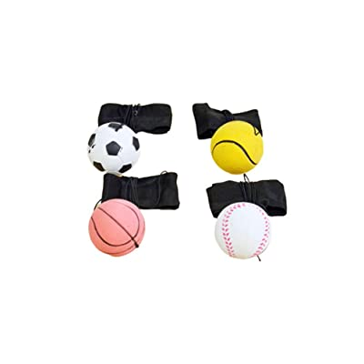 TOYANDONA 4pcs Wristbands Throwing Ball Toys Sport Return Ball with Rope Elastic Bouncy Balls Birthday Gifts for Kids Toddler: Toys & Games