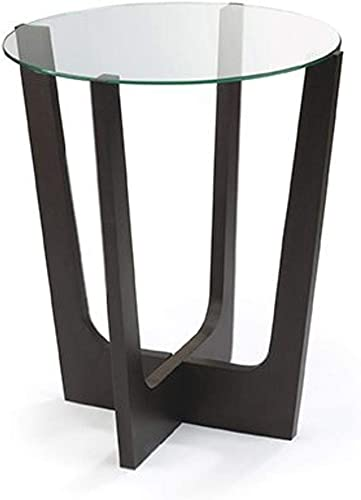 Umbra Stellar Glass-Top Wood Side Table