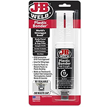 J-B Weld 50139 Plastic Bonder Body Panel Adhesive and Gap Filler Syringe - Dries Black - 25 ml