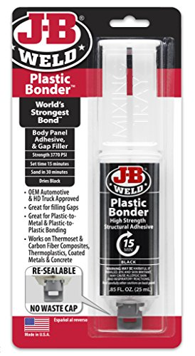 Hard Plastic Repair - J-B Weld 50139 Plastic Bonder Body Panel Adhesive and Gap Filler Syringe - Dries Black - 25 ml