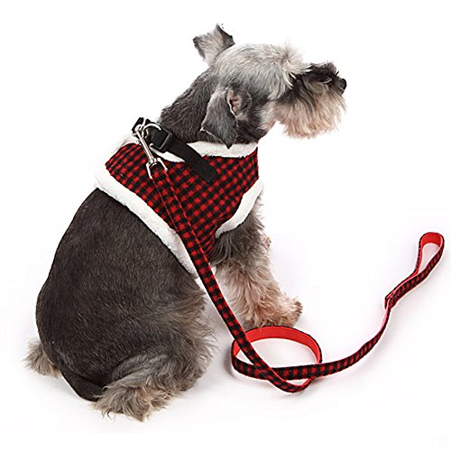 Fleece Dog Harness (ZackX Dog No Pull Harness with Leash,Soft Fleece Inner Warm Harness,Adjustable Harness with Velcro Closure,Quick Release Red + Black Plaid Harness XL)