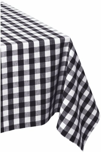 ar Cotton Tablecloth, Black & White Check - Perfect for Fall, Thanksgiving, Farmhouse Décor, Dinner Parties, Christmas, Picnics & Potlucks or Everyday Use ()