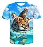 Genuxury Fashion Mens 3D Digital Printed Tiger with Cat Design Pattern T-Shirts Top Tees