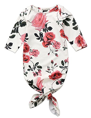 Greenafter Newborn Baby Girl Floral Gown Coming Home Outfit Baby Girl Gift (Beige)