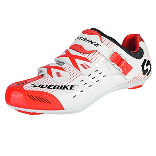 Fastar zapatillas de deporte de ciclismo MTB para hombre - Zapatos respirables ligeros elegantes del montar a caballo Nuevo -Blanco