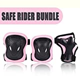 Kuxuan Girl's Cira Pink Protective Gear Set Including Knee Pads Elbow Pads and Wrist Guards, For Kid Multi Sports Uses: Skateboarding, Roller Skating, Cycling, Balance Biking, and Scooter - Medium
